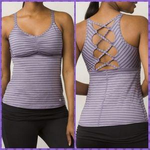 Prana Tops - prAna Filament Strappy Back Purple Striped Tank Sm